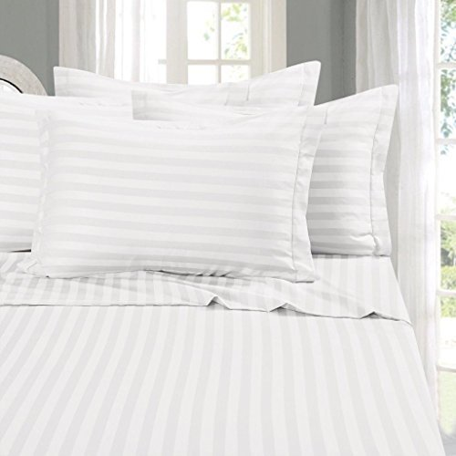 LINENWALAS 100% Natural Pure Cotton 300 Thread Count King Size Pillow Cases|Silk Like Soft, Hypoallergenic, Breathable & Cooling Satin Stripes Pillow Cover |Hotel Luxury Bedding (King, White)