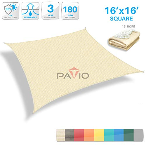 (Patio Paradise 16' x 16' Tan Beige Sun Shade Sail Square Canopy - Permeable UV Block Fabric Durable Outdoor - Customized Available)