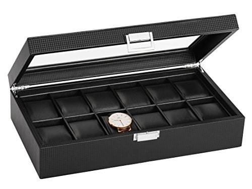 SWEETV Large Watch Storage for Men - 12 Watches Slots, Luxury Carbon Fiber Jewelry Organizer Watch Display Case Box w/Glass Top, Lockable Metal Buckle, Faux Leather Black (Display Case Large Wood Solid)