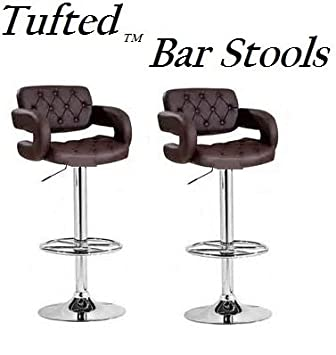 South Mission Tufted Adjustable Swivel Bar Stool with Armrests, Brown Leatherette, Set of 2