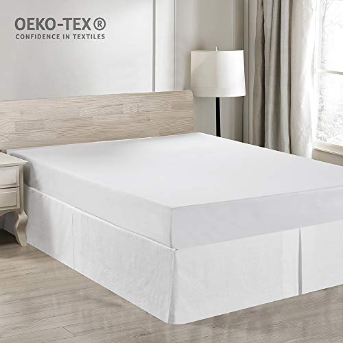 - Simple&Opulence Easy Fit Breathable Premium Dust Ruffle with Classic 14 inch Drop Bed Skirt (Basic-White, Queen)