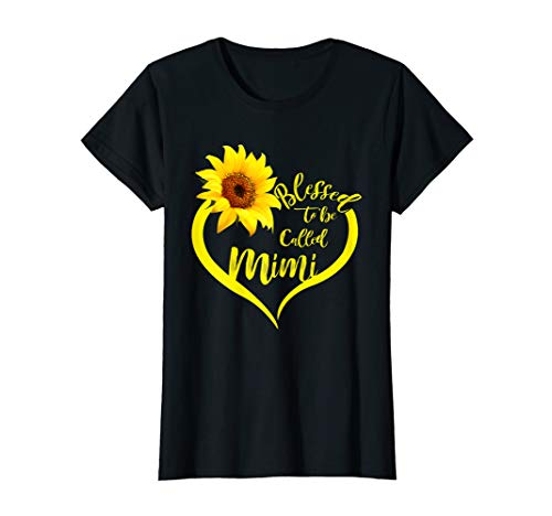 Womens Blessed To Be Called Mimi Sunflower Lovers Grandma Shirt