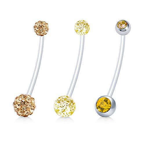 JFORYOU 3 PCS Pregnancy Maternity Flexible Bioplast Long Belly Button Rings Navel Retainer Body Piercing 14G 1&1/2 Inch Length CZ/Glitter/Rhinestone Balls Yellow Set ()