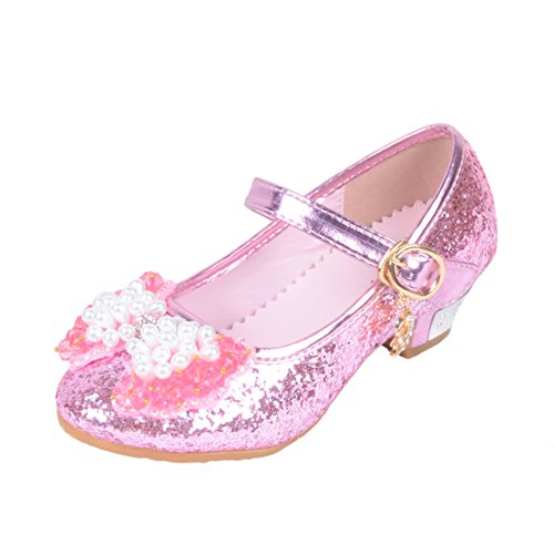 O&N Girls Kids Childrens Bow Low Heel Party Wedding Mary Jane Glitter School Dress Shoes A-pink 12 M US Little (Girls Party Shoes)