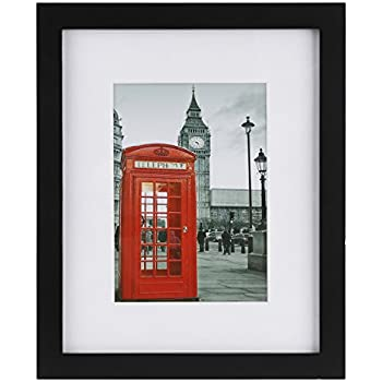 One Wall 8x10 Picture Frame Black with 2 Mats for 5x7 or 4x6 Documents, Wood Picture Photo Frames Horizontal or Vertical