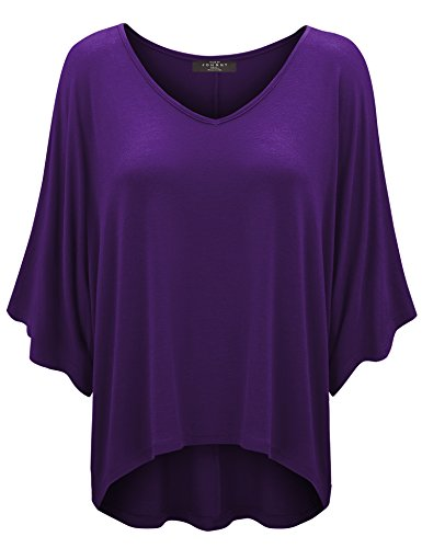 - WT1106 Womens V Neck Square Sleeves Oversized Loose Fit Top XL Dark_Purple
