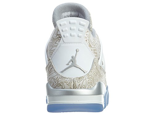 Nike Herre Air Jordan 4 Retro Laser Hvid / Krom-metallisk Sølv Læder Basketball Sko Hvid, Krom-metallisk Sølv