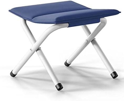 ポータブル折りたたみスツールホーム屋外キャンプ用ピクニックバーベキューソフト快適な厚い釣り折り畳み式クッションスツール (Color : Blue)