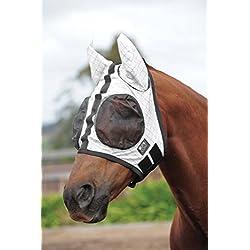 Kool Coat Fly Mask with Ears White/Black (Full)