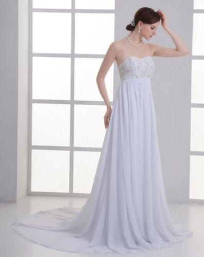 Chiffon GEORGE Stickerei BRIDE schlichte Weiß Brautkleid Empire traegerlos THO8Hwnrx