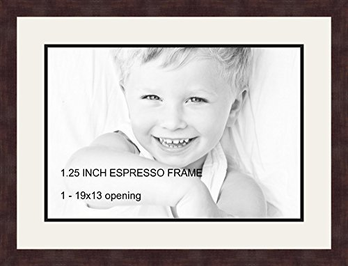 Art to Frames Double-Multimat-730-61/89-FRBW26061 Collage Frame Photo Mat Double Mat with 1-13x19 Openings and Espresso Frame