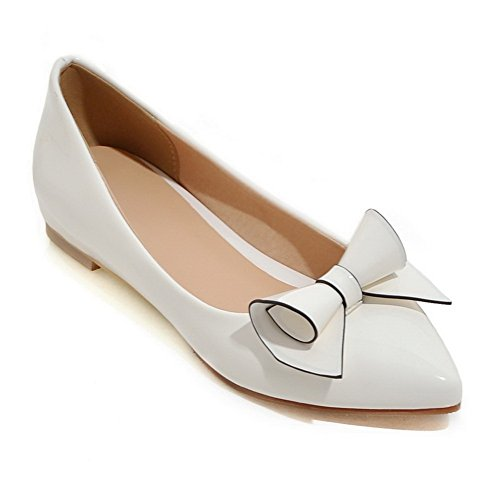 Balamasa Dames Laag Uitgesneden Bovenwerk Mule Winkle Pinker Gesponnen Goud Strik Nagebootst Lederen Pumps-schoenen Wit