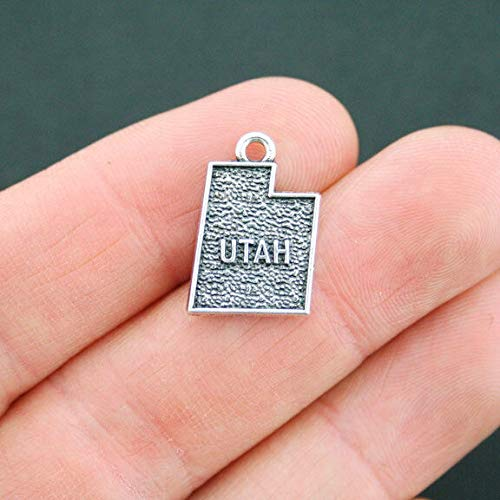 4 Utah Charms Antique Silver Tone 2 Sided Utah State ODSF-3311