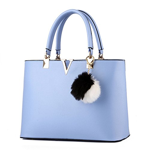 LIZHIGU Faux Leather Top-handle Bag Fashion Handbags Tote Bag Purse Sky Blue 8119