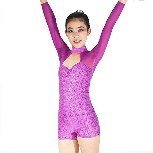 [MiDee Girl's Illusion Long Sleeves Sequins Mock-neck Dance Leotard Costume (MA, Magenta)] (Dance Costumes Ma)