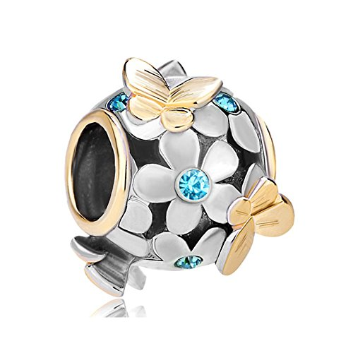 ThirdTimeCharm March Birthstone Flower And Butterfly Charm Beads For Charm Beacelets - Pandora Charm March Birthstone