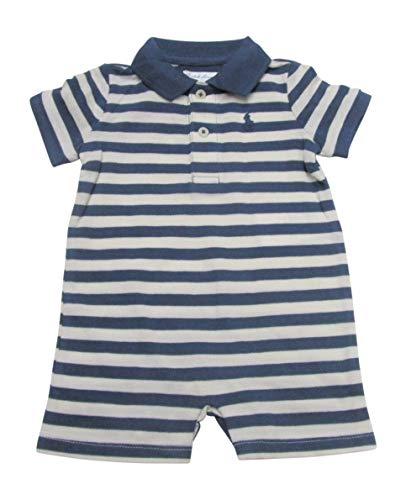 Ralph Lauren Baby Boys Shortalls Featherweight Mesh Pique Cotton (3 Months, Blue/Antique Cream) -