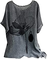Linen Tops for Women Tunic Baggy Short Sleeve Loose Fitting O Neck T-Shirts Daisy Printed Tops for Women