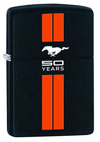 zippo-lighter-ford-mustang-50th-anniversary-black-matte-orange-stripes