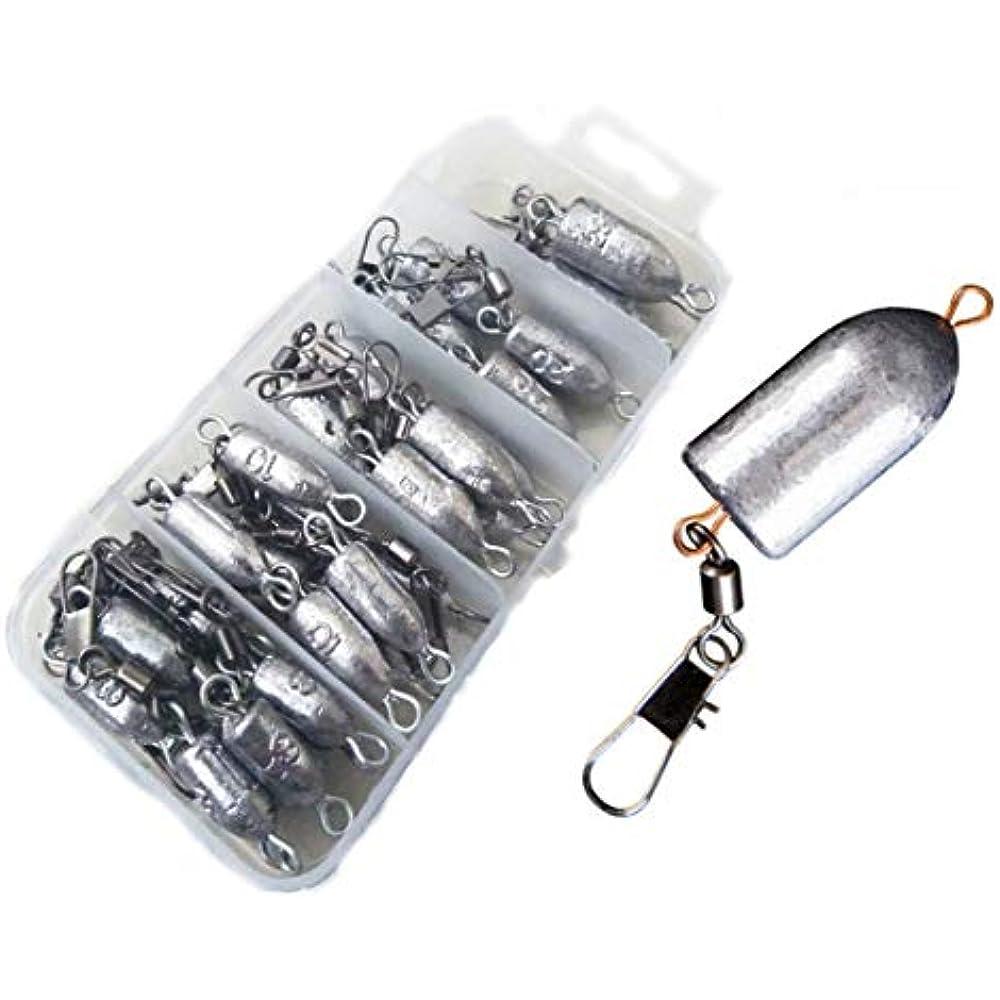 10x Fishing Sinker Weight Lead Sinker Rolling Swivel w// Interlock Snap Connector