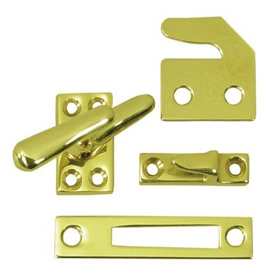 Deltana CF066 Small 4 Piece Solid Brass Window Casement Fastener, Brushed Chrome Brass Casement Fastener