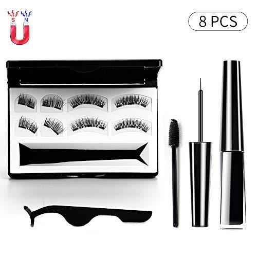 Magnetic Eyeliner Kit, Magnetic Eyeliner and Lashes 8PCS No Glue Natural Look, Waterproof Liquid Eyeliner and False Eyelashes Tweezers (Stainless Steel)