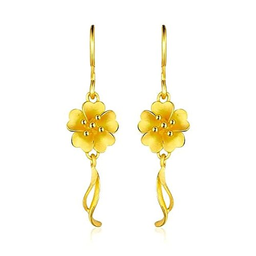 Beydodo 5.65g 24K Yellow Gold 999 Dangle Earrings for Womens Dust sheets Earrings Drop for Wedding by Beydodo
