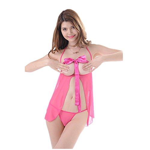 LOHASBEE Women Sexy Lingerie Off-the-shoulder Satin babydolls Open Cup Nightwear