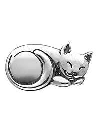 Cat Pin Brooch in Sterling Silver