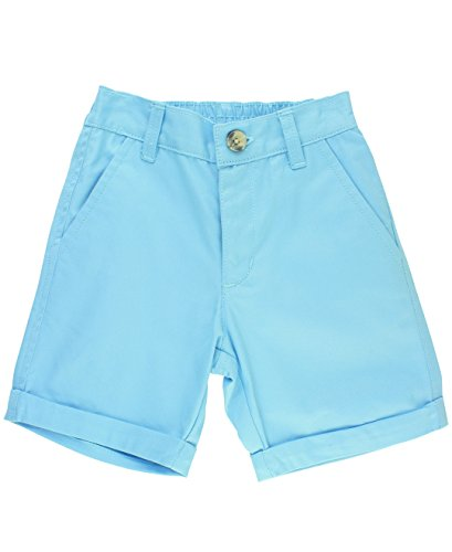 Sky Blue Shorts - RuggedButts Little Boys Cuffed Chino Shorts - Sky Blue - 4T
