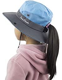 d53d137db1d Kids Girls Ponytail Summer Sun Hat Wide Brim UV Protection Bucket Cap
