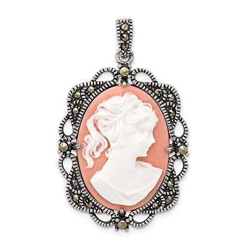 Jewelry Pendants & Charms Cameos Sterling Silver Marcasite Plastic Cameo Pendant