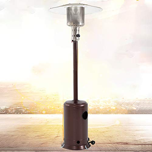 - Patio Heater Tall Hammered Finish Garden Outdoor Heater Propane Standing LP Gas Steel w/Accessories