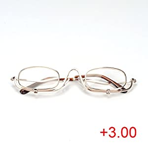 Make Up Eye Glasses, Besttradestore Magnifying Spectacles With Pouch Flip Down 5 Lens (3.0)