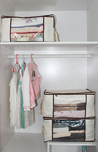 MISSLO Thick Oxford Clothing Organizer Storage Bags for Clothes, Blanket, Comforter, Closet, 3 Piece Set (Beige) by MISSLO (Image #5)