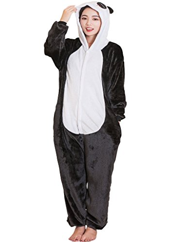 Unisex Adult Onesie Pajamas Panda Kigurumi Animal Cosplay Halloween Costume Pj M