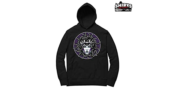94435291787f3b Amazon.com  Concord 11 Medusa Laced Hoodie to Match Jordan 11 Concord  Sneakers Black t-Shirts  Clothing