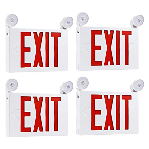 TORCHSTAR Red LED Exit Sign with UL Listed Emergency Light, AC 120V/277V, Battery Included, Top/Side/Back Mount Sign Light, for Hotels, Restaurants, Shopping Malls, Hospitals, Pack of 4