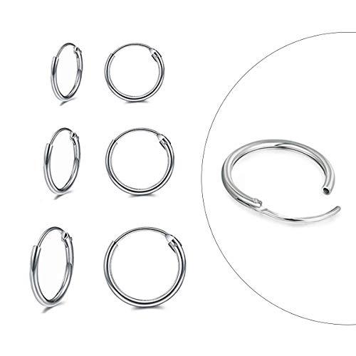 CERSLIMO Silver Hoop Earrings- 3 Pairs Sterling Silver Endless Small Hoop Earrings Set for Women Men Girls Hypoallergenic Cartilage Earring Tragus Piercing Nose Lip Rings(8mm/10mm/12mm)