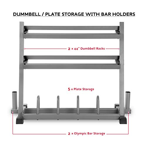 XMark All-in-One Dumbbell Rack, Plate Weight Storage and Dual Vertical Bar Holder, Design Patent Pending by XMark (Image #1)