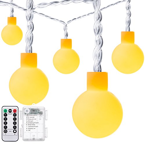 DecorNova Globe Lights, 16.4ft 50-LED Battery Powered Fairy String Lights for Bedroom Party Wedding Decorations, Waterproof 3AA Battery Case and Remote Control, Warm White