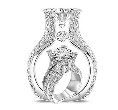 MAIHAO Fashion Women 925 Sterling Silver Ring,White Topaz Cubic Zirconia CZ Diamond Elegant Eternity Engagement Wedding Band Ring Size 6-10 US Code 7