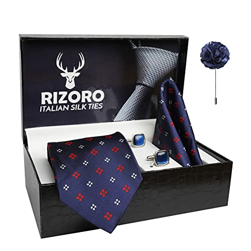 Rizoro Mens Plaid Dotted Silk Necktie Gift Set With Pocket Square Cufflinks & Brooch Pin Formal Tie With Leatherite Box (4D3RX Free Size)