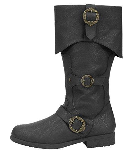 Caribbean Pirate Black Costume Boots (Medium 10-11) (Jack Sparrow Boots)