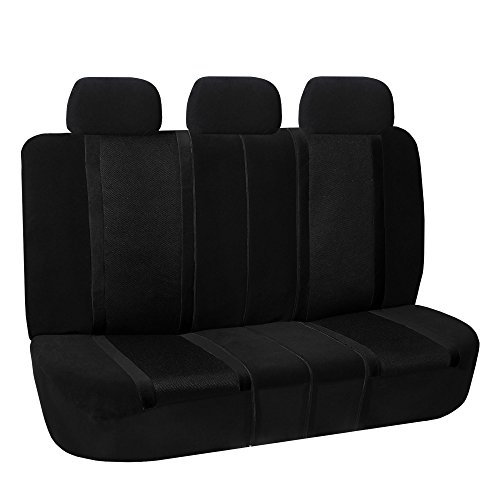 (FH Group FH-FB070013 Sports Fabric Split Bench Car Seat Cover (40/60 Split, 40/20/40 Split and 50/50 Split), Solid Black - Fit Most Car, Truck, SUV, or Van)