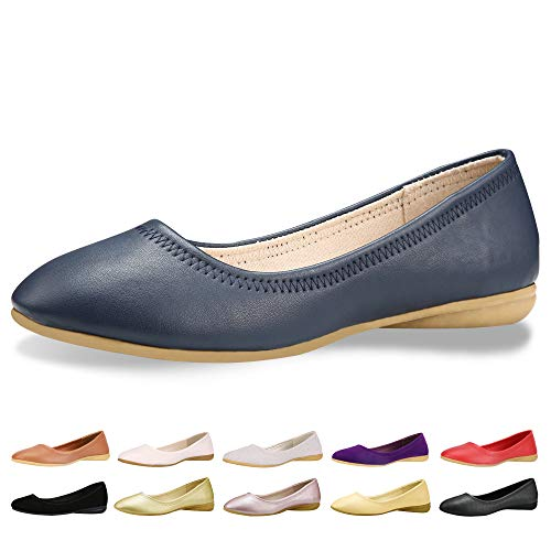 CINAK Women Flats Shoes - Slip-on Ballet Comfort Walking Shoes for Women (7-7.5 B(M) US/ CN39 / 9.5'', Blue)