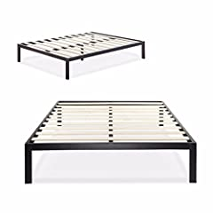 The extra strength steel framed Platform Bed 3000 by Zinus features wooden slats that provide strong support for your memory foam, latex, or spring mattress. 14 inches high with 12 inches of clearance under the frame for plenty of under bed s...