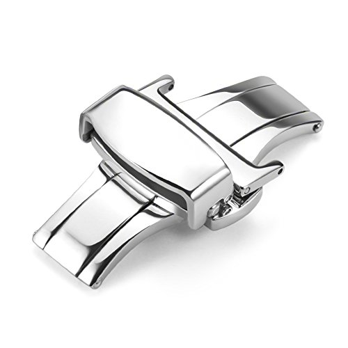 Buckle Button Deployant Push - iStrap Stainless Steel Butterfly Deployant Buckle Double Push Spring Watchband Clasp Color & Width (16mm 18mm and 20mm)