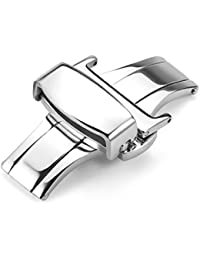 Stainless Steel Butterfly Deployant Buckle Double Push Spring Watchband Clasp Color & Width (16mm 18mm and 20mm)