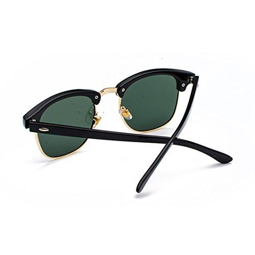 Or avec Lunettes verres UV400 de demi Noir Vert Femmes polarisés monture Aiweijia rétro Foncé hommes soleil BgE7zw8q